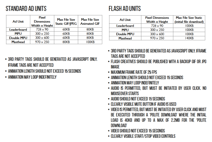 Full ad specs sheet