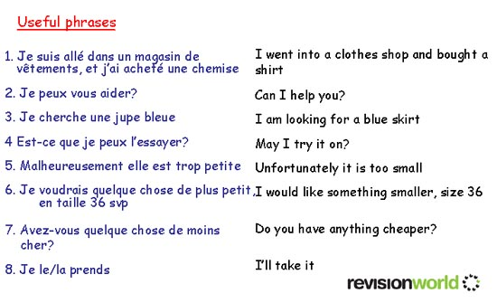 Clothes   gcse-revision, french, shopping, clothes   Revision World