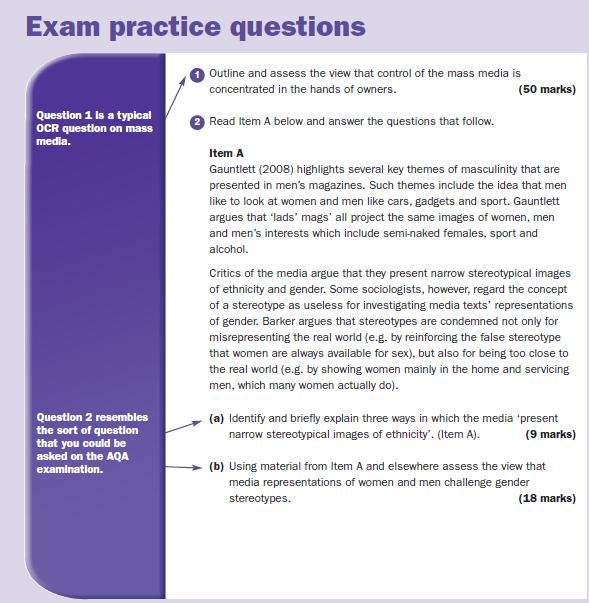 Exam Practice Questions | a2-level-level-revision, sociology, mass