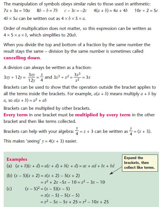 Use Of Symbols Gcse Revision Maths Number And Algebra Algebra