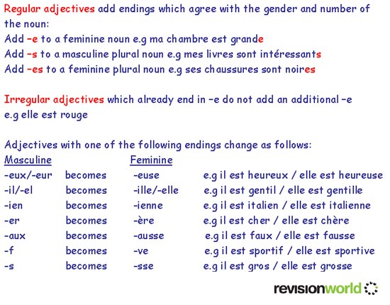 adjectives gcserevision french grammar adjectives