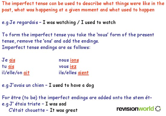 Imperfect Tense Gcse Revision French Grammar Tenses