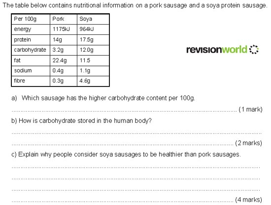 Question 4 - Nutrition | Revision World