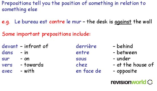 prepositions gcse revision french grammar prepositions revision world. Black Bedroom Furniture Sets. Home Design Ideas