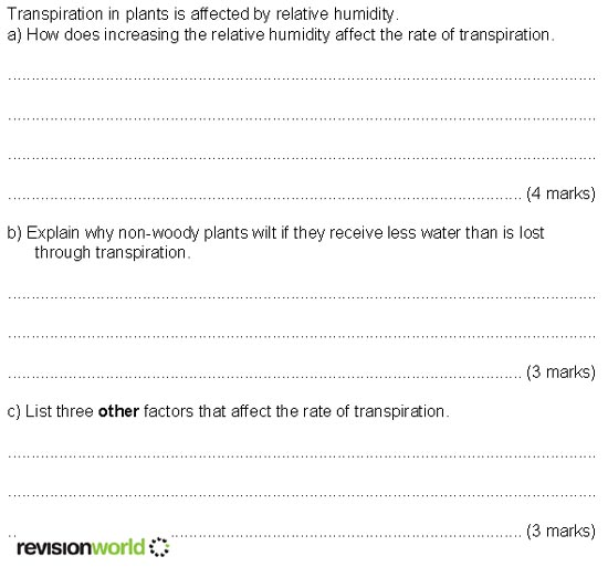 Question 9 Transpiration Revision World